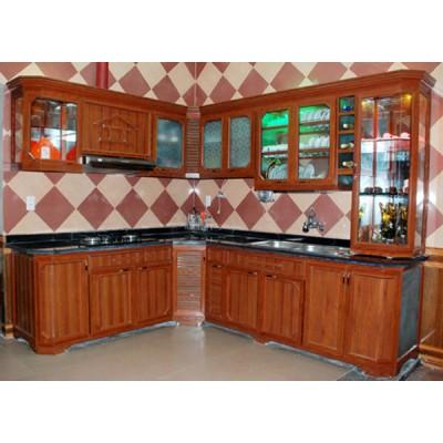 Mẫu hình ảnh tủ bếp nhôm kính màu vân gỗ
